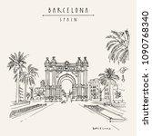 barcelona  catalonia  spain.... | Shutterstock .eps vector #1090768340