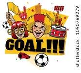 football fans design cheerful... | Shutterstock .eps vector #1090769279