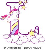 initial l with cute unicorn and ... | Shutterstock .eps vector #1090775306