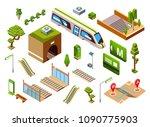 metro train station set  vector ... | Shutterstock .eps vector #1090775903