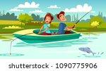 couple fishing vector... | Shutterstock .eps vector #1090775906