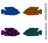 Silhouette Of Fish. Four Pieces....