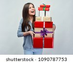 Happy Woman Holding Gift Pile ...