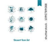 dessert icons in simple ... | Shutterstock .eps vector #1090789088