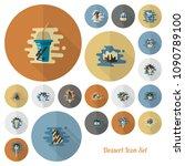dessert icons in simple ... | Shutterstock .eps vector #1090789100