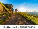 cycling women and man riding on ... | Shutterstock . vector #1090794836