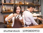 asian female barista making... | Shutterstock . vector #1090800953