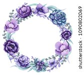 round floral wreath with... | Shutterstock . vector #1090802069