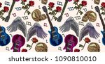 embroidery rock music seamless... | Shutterstock .eps vector #1090810010