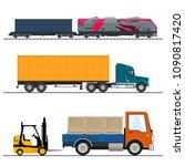 set of overland freight... | Shutterstock .eps vector #1090817420