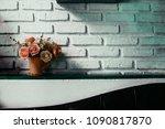 beautiful flowers in vase on...   Shutterstock . vector #1090817870