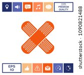 cross adhesive bandage  medical ...   Shutterstock .eps vector #1090821488