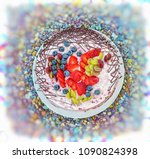 colorful jelly fruit cake with... | Shutterstock . vector #1090824398