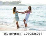 two teenagers girls on the... | Shutterstock . vector #1090836089