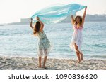 two teenagers girls playing... | Shutterstock . vector #1090836620