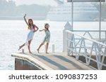 two teenagers girls dancing on... | Shutterstock . vector #1090837253