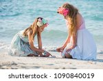 two teenagers girls sitting on... | Shutterstock . vector #1090840019