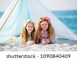 two teenagers girls inside... | Shutterstock . vector #1090840409