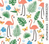summer seamless pattern with... | Shutterstock .eps vector #1090843250