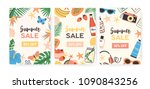 collection of flyer templates... | Shutterstock .eps vector #1090843256