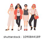 four young women or girls... | Shutterstock .eps vector #1090844189