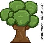 pixel art circle tree for video ... | Shutterstock .eps vector #1090850330