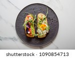toast with veggies avocado ... | Shutterstock . vector #1090854713