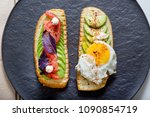 toast with veggies avocado ... | Shutterstock . vector #1090854719