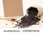 close up coffee beans in brown... | Shutterstock . vector #1090855034