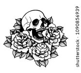 rose tattoo with skull.... | Shutterstock .eps vector #1090856939