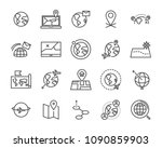 world map line icon set  global ... | Shutterstock .eps vector #1090859903