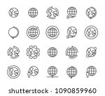 world map line icon set  global ... | Shutterstock .eps vector #1090859960