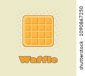 square waffle cartoon drawing... | Shutterstock .eps vector #1090867250