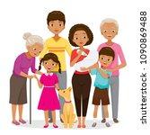 big family with dark skin happy ... | Shutterstock .eps vector #1090869488