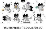 cute cartoon cats with... | Shutterstock .eps vector #1090870580