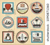 vintage colored traveling marks ... | Shutterstock .eps vector #1090871360