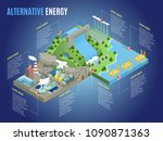 isometric alternative energy... | Shutterstock .eps vector #1090871363