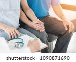 patient couple having doctor or ... | Shutterstock . vector #1090871690