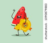 funny watermelon with... | Shutterstock .eps vector #1090879883