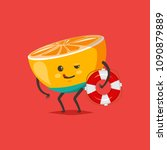funny orange in swimming trunks ... | Shutterstock .eps vector #1090879889