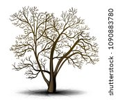 detached tree without leaves on ... | Shutterstock .eps vector #1090883780
