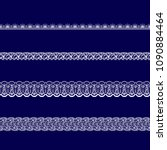 set of white lace ribbons on a... | Shutterstock .eps vector #1090884464