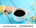 mug of hot black coffee  pastry ... | Shutterstock . vector #1090884854
