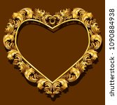 frame gold color with shadow on ... | Shutterstock .eps vector #1090884938