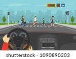 hands driving a car on the... | Shutterstock .eps vector #1090890203