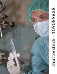 Surgeon prepare make injection before coming difficult surgery - stock photo