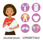 dark skin mother breastfeeding... | Shutterstock .eps vector #1090897463