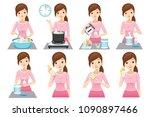 steps to preparing baby bottle  ... | Shutterstock .eps vector #1090897466