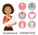 dark skin mother feeding baby... | Shutterstock .eps vector #1090897478