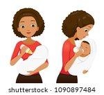 dark skin mother feeding baby... | Shutterstock .eps vector #1090897484